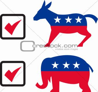 Republican Elephant Democrat Donkey Election Ballot