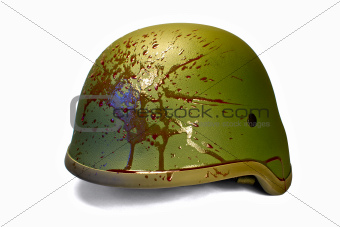 Military or police helmet with blood splattered. Isolated.