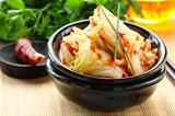 Korean cabbage kimchi with hot pepper