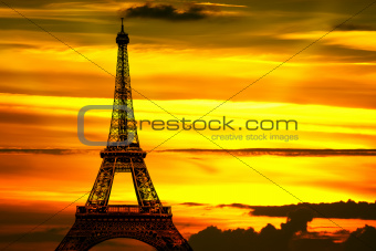 The Eiffel tower at sunset