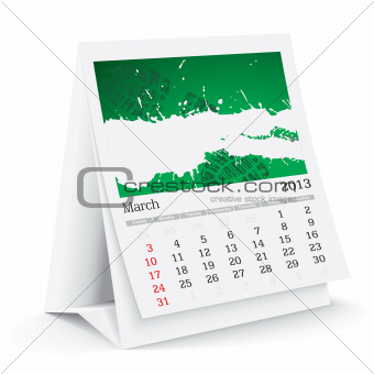 march 2013 desk calendar