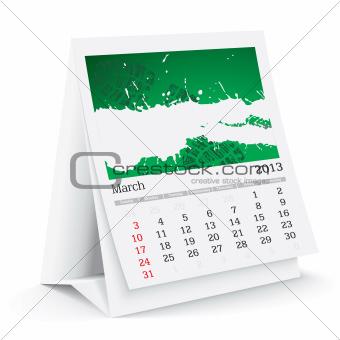 march 2013 desk calendar