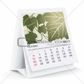 october 2013 desk calendar