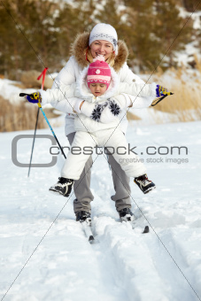 Skiing together
