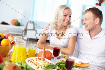 Couple by festive table