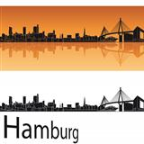 Hamburg skyline in orange background