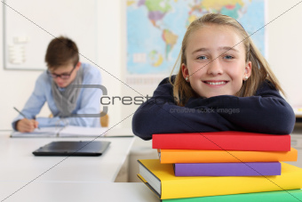 Happy student in her classroom