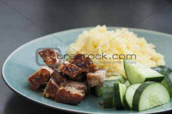 Rice with crispy pork