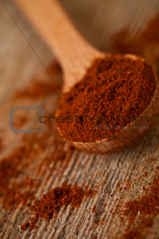 ground red pepper in wooden spoon