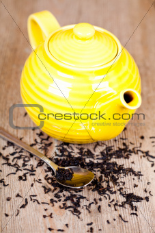 yellow teapot with spoon