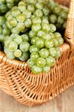basket with fresh green grapes