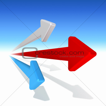 Three arrows on blue background
