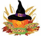 Pumpkin with Pilgrim Hat Illustration