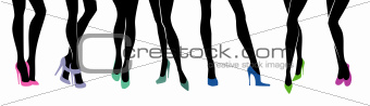 Female legs with different shoes