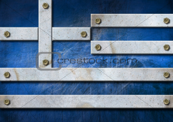 Greece Grunge Metal Flag