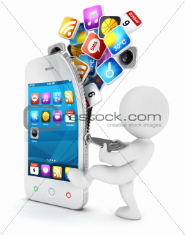 3d white people opens a smartphone