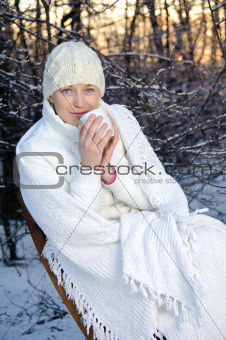 woman in the winter forest