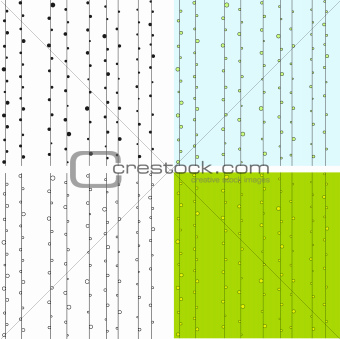 Classic seamless pattern with points. Green, blue, black and white colored