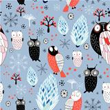 winter texture of owls and snowflakes