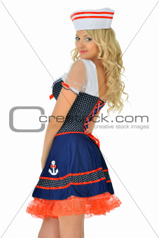 Beautiful blonde woman in mascarade seaman costume.