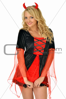 Beautiful blonde woman in carnival costume of devil.
