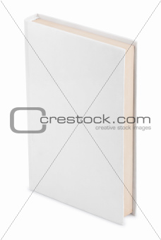 Closed white book with clipping path