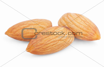 Almond nuts on white