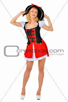 Beautiful blonde woman in mascarade pirate costume.