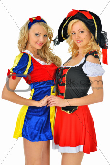 Two women in carnival costumes of Pirate and Snow White.