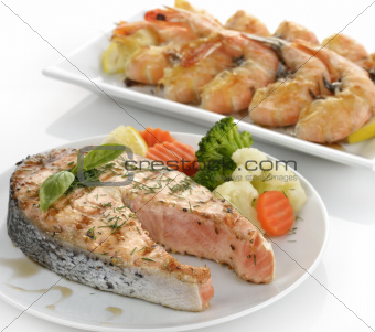 Slice Of Salmon And Shrimps