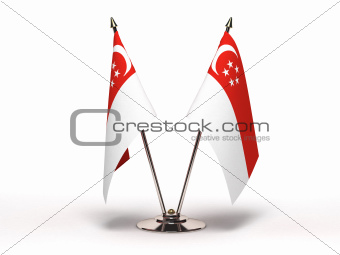 Miniature Flag of Singapore (Isolated)
