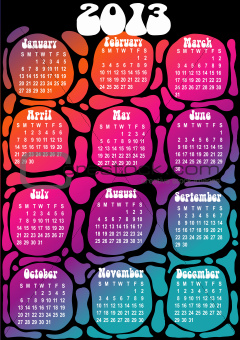 2013 calendar - psychedelic style