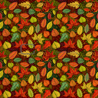 Autumn leafs vector seamless pattern