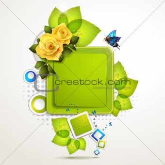 Green banner with leaf