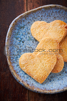 Butter cookies on a ceramic plate