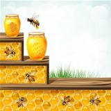 Glass jar bees and honeycombs