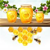 Glass jar and honey