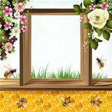 Bees and honeycombs with flowers