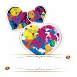 Hearts with colorful splashes