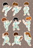 cartoon Karate Player stickers
