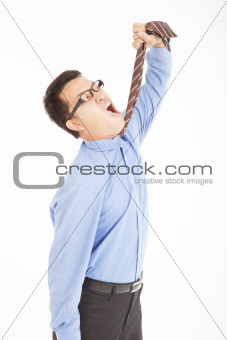 depression businessman tighten the tie