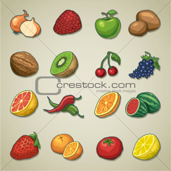 Freehand icons - fruits and vegetables