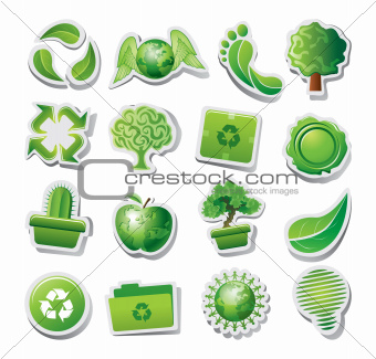 Set of green ecological or environmental icons