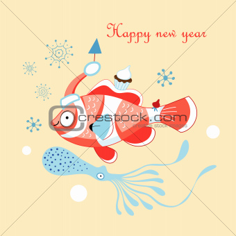 Christmas card with a fish
