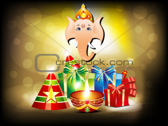 abstract glossy diwali background with gifts