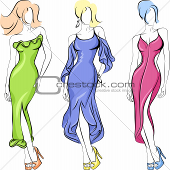 Vector set of fasion beautiful top-model in a Dresses green, red