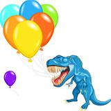 vector happy blue dinosaur tyrannosaurs with multi-colored ballo