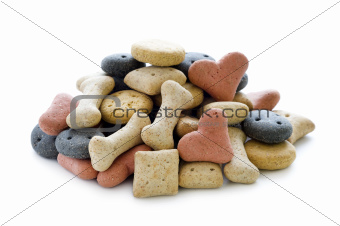 dry dog biscuits isolated