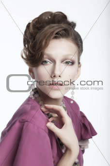 Adorable young woman - cute female studio portrait