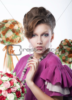 Holidays - beauty girl with festive flowers art portrait